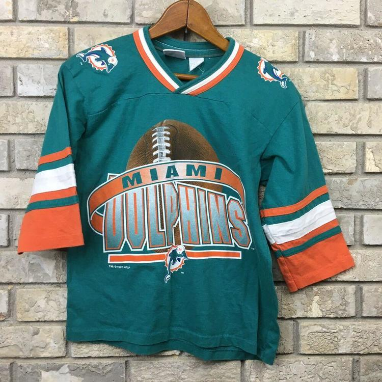 new product d421b 2575d VINTAGE 90s Miami Dolphins Boys Medium 10/12 Shirt Jersey Team Rated Vtg  Florida