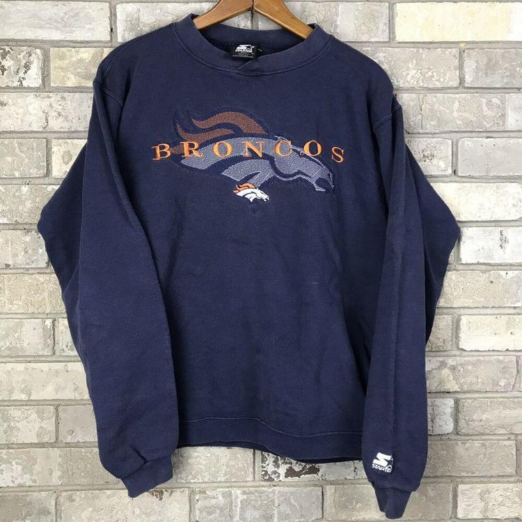 wholesale dealer 49114 4f34b VTG Denver Broncos Starter Pullover Sweatshirt Blue Men's Size Medium  Vintage OG