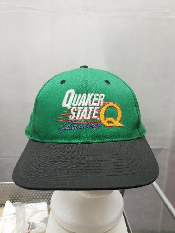17473e5c2 QUAKER STATE Racing 90s Racing Vintage Snapback hat Green Nascar