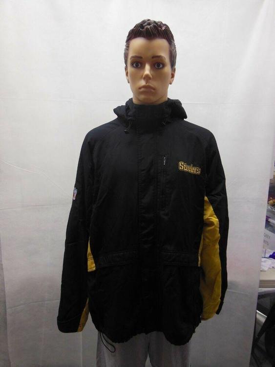 best service a1fdc 3bc9d Pittsburg Steelers hooded Reebok Winter coat jacket Mens XL Black Yellow NFL