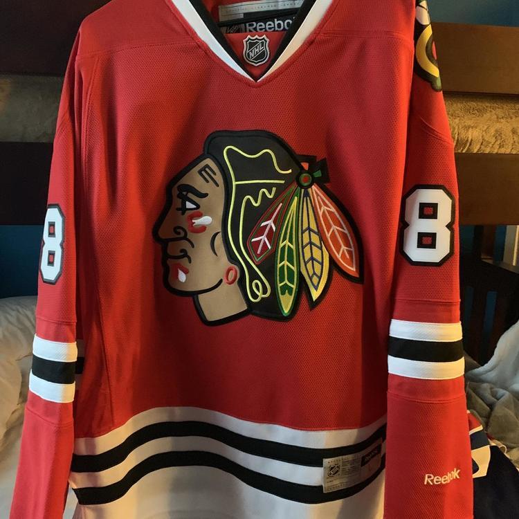 detailed pictures quality design hot product Patrick Kane Chicago Blackhawks Reebok Home Jersey Men's L