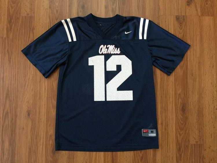 online store 7d84c 006cc Ole Miss Rebels #12 NCAA SUPER AWESOME Nike Mississippi Boys M Football  Jersey!
