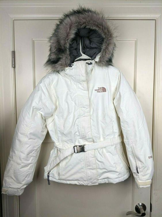 e91d6201b The NORTH FACE 550 Goose Down Puffer White Parka Jacket Faux Fur Hood  Women's M