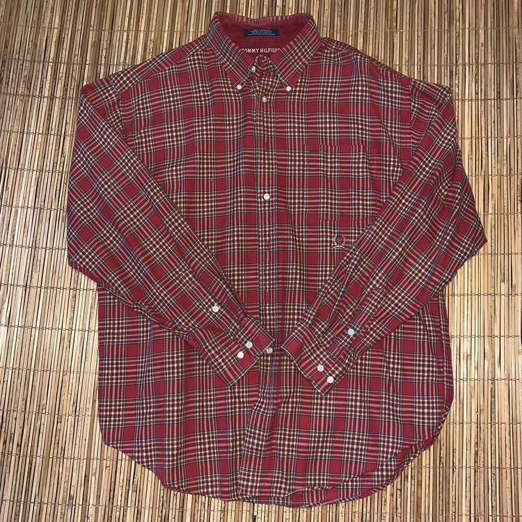 Tommy Hilfiger Mens Red Plaid Stripe Flannel Long Sleeve Shirt XL Vintage  Button