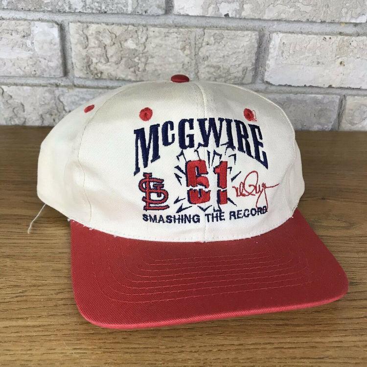 a8f59401 VTG ST LOUIS CARDINALS MARK MCGWIRE Home Runs Snapback Hat Cap NWT Rare  Script S