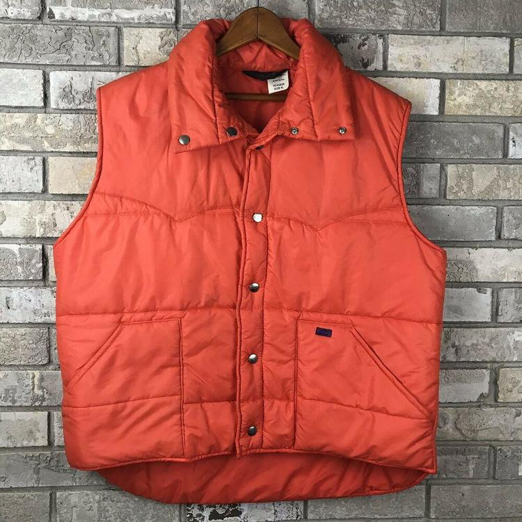 090fbc9aa Vtg 70s 80s WRANGLER Mens XL Ski Puff Vest Rare Nylon Orange Rancher USA  Made OG
