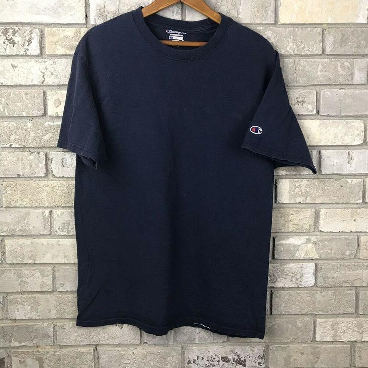 24b9799d545 Champion Athletic Wear Mens Large T Shirt Navy Blue Fade Distressed  Authentic OG