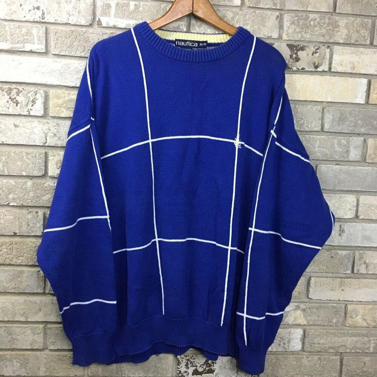 48305b55bb3 Vintage 90s NAUTICA Mens XL Blue Sailing Yacht Club Plaid Lines Sweater Vtg
