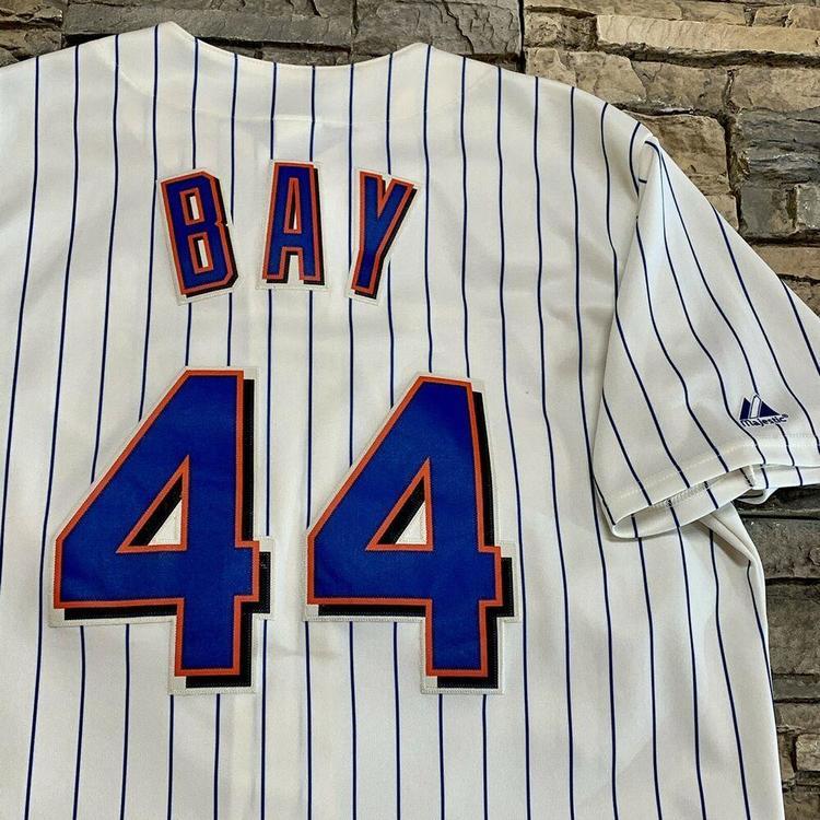 new style d8feb baf7f Jason Bay New York Mets Pinstripe Majestic MLB Baseball Jersey Mens XL