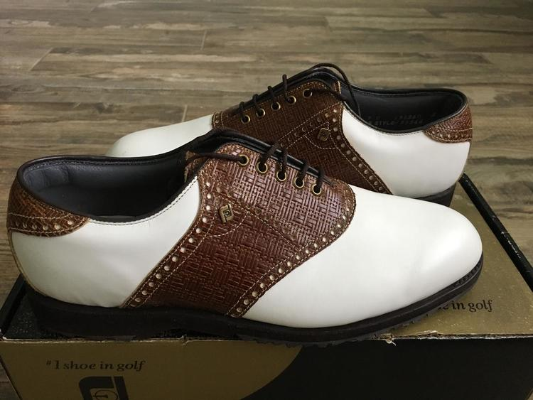 Footjoy New Vintage Classics Dry Men S Spikeless 55566 White Brown 9c Golf Shoes