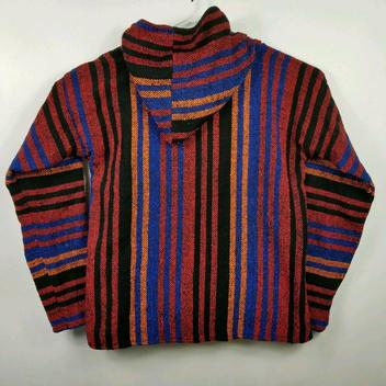 Woven Poncho Hoodie Mexican Baja Surfer Skater Striped Mens Large