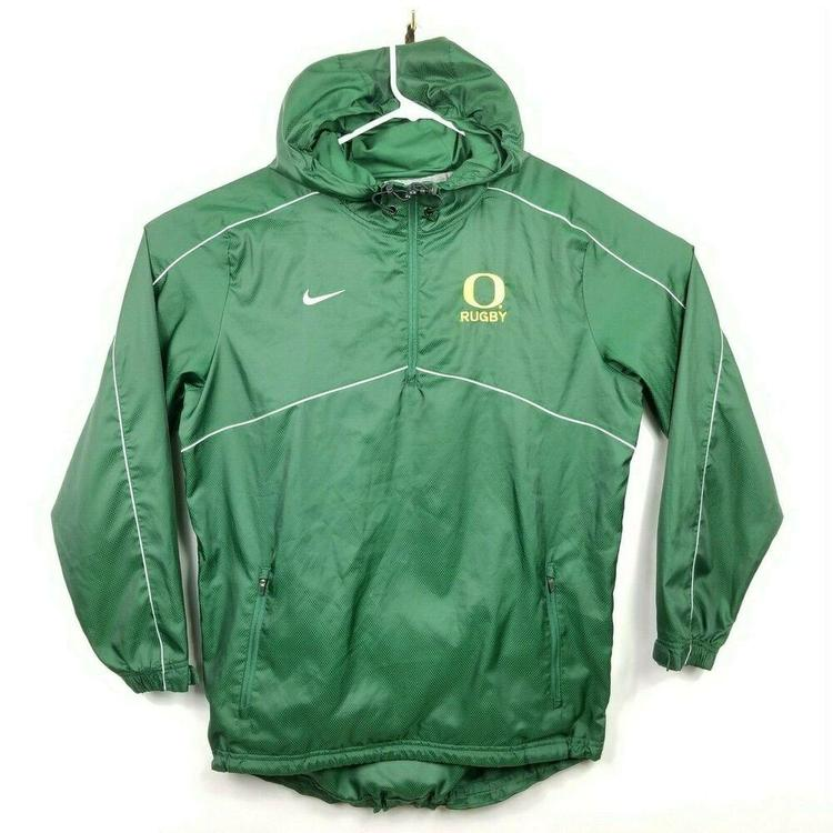 half off 2c52f 35e0f Nike Oregon Ducks Rugby Hooded Rain Jacket Vented Windbreaker Mens Small