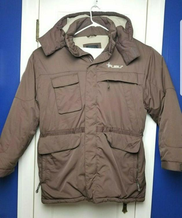 95803b62b FUBU The Collection 90s Brown Puffer Jacket Mens Size Large Hooded Puffy  Coat
