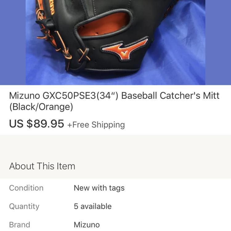 "Baseball Catcher/'s Mitt 34"" Mizuno GXC50PSE3 Black//Orange"