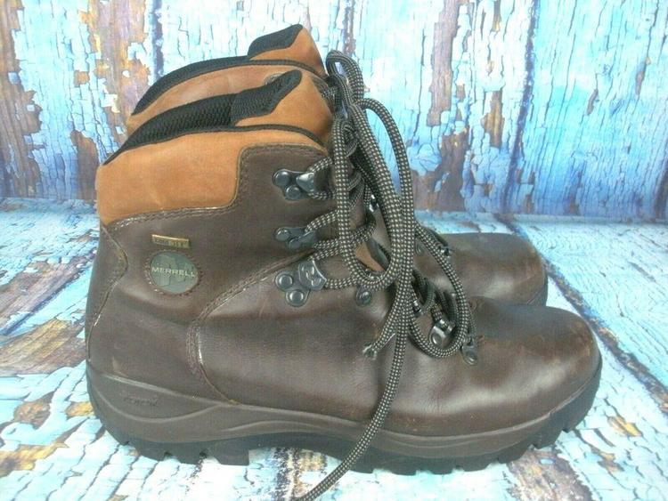 36c28df4cde Merrell Ridge Gore-Tex Brown Leather Hiking Trail Boots Vibram Men's Size:  10