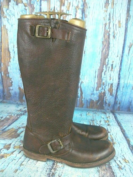 ddeff8ff1b5 Frye Veronica Slouch Brown Leather Harness Riding Boots 77609 Women's Size:  8 B