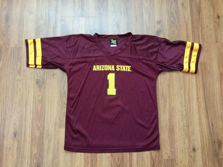 uk availability 4ad65 abc89 Arizona State Sun Devils #1 SUPER AWESOME Maroon Youth Sz XL Football  Jersey!