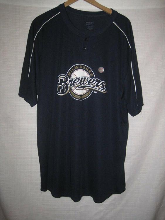 innovative design d95e7 66750 Milwaukee Brewers Baseball Jersey men's XL blue Miller Lite NWT NEW