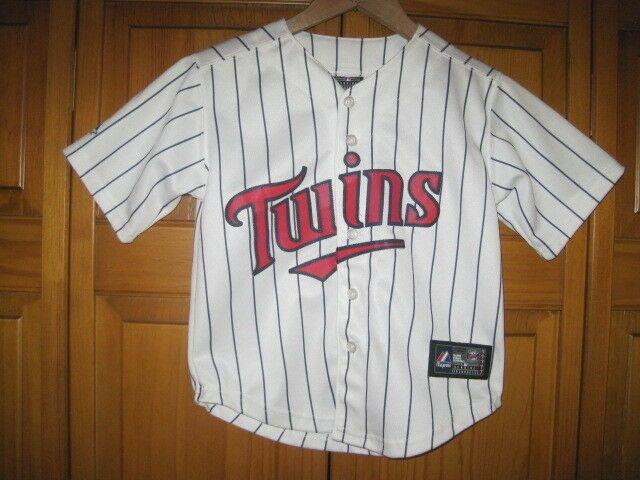 outlet store 5b9fe 97143 Authentic Minnesota Twins Majestic baseball jersey kids boys 5/6 white  pinstripe