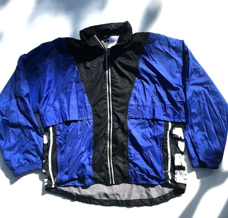 ffb2fc2cd5a8f VTG 90s Nike White Tag Nylon Windbreaker Jacket Zip Up Blue/Black Men's  Size XL