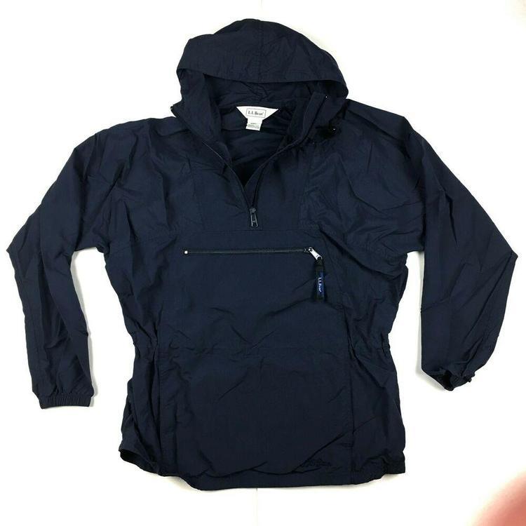 VTG 90s L.L. Bean Pullover Windbreaker Nylon Jacket Blue Zip Up Hooded Women's S