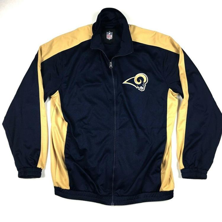 super popular 57408 e9db9 VTG St. Louis Rams Zip Up Jacket Embroidered NFL Football Long Sleeve Sz  Large