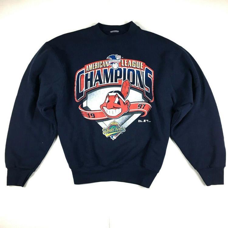 Pro Player Cleveland Indians 1997 American League Champions Sweatshirt Sz  Large