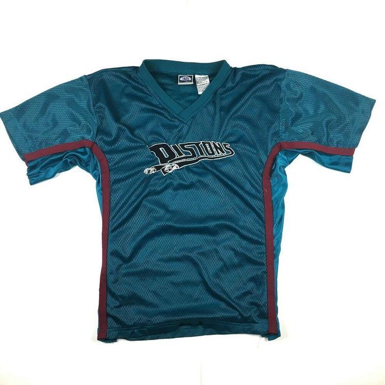 huge discount a20e3 47ab5 VTG Detroit Pistons Spell Out Logo Mesh Jersey T-Shirt NBA Basketball Teal  Sz XL