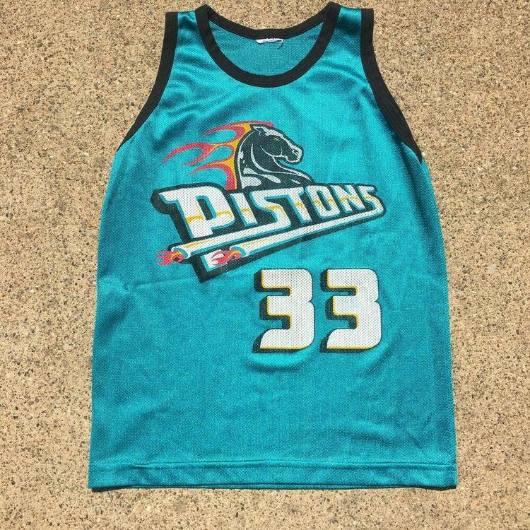 best service 4b36a f7630 VTG 90s Detroit Pistons Grant Hill Basketball Jersey Teal Mesh #33 Sz Youth  M