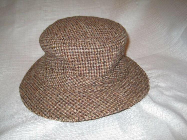 4d30f834c LL Bean Hand Woven Harris Tweed Wool Gore Tex bucket hat men's XXL brown