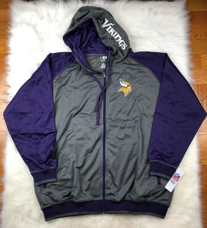 timeless design cb508 2a4ba Minnesota Vikings Men's Big & Tall Full Zip Poly Performance Hoodie 3XL NFL