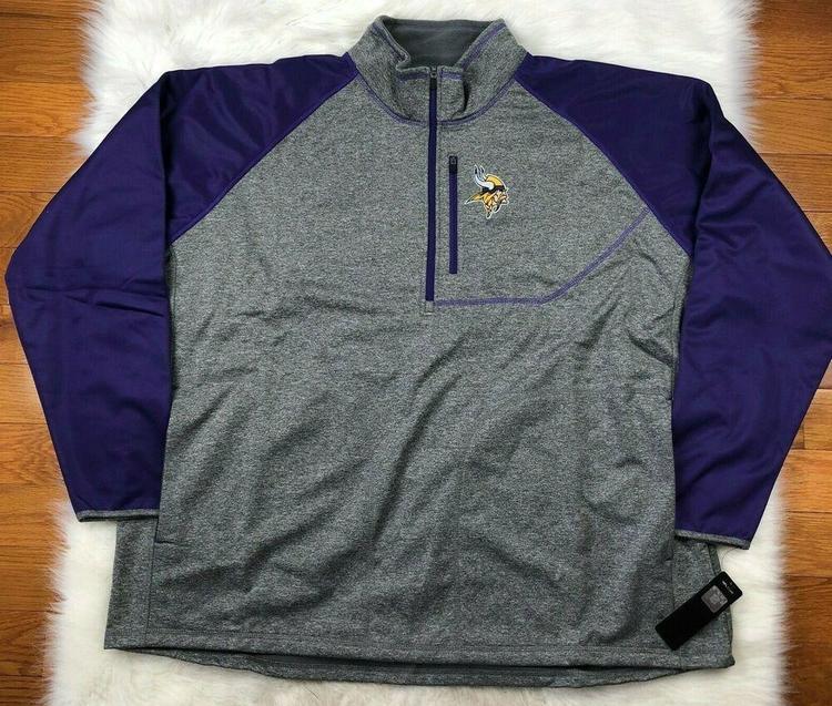 new product b7981 f9c94 NFL Minnesota Vikings Soft Shell 1/4 Zip Pullover Track Jacket G-III Men's  5XL