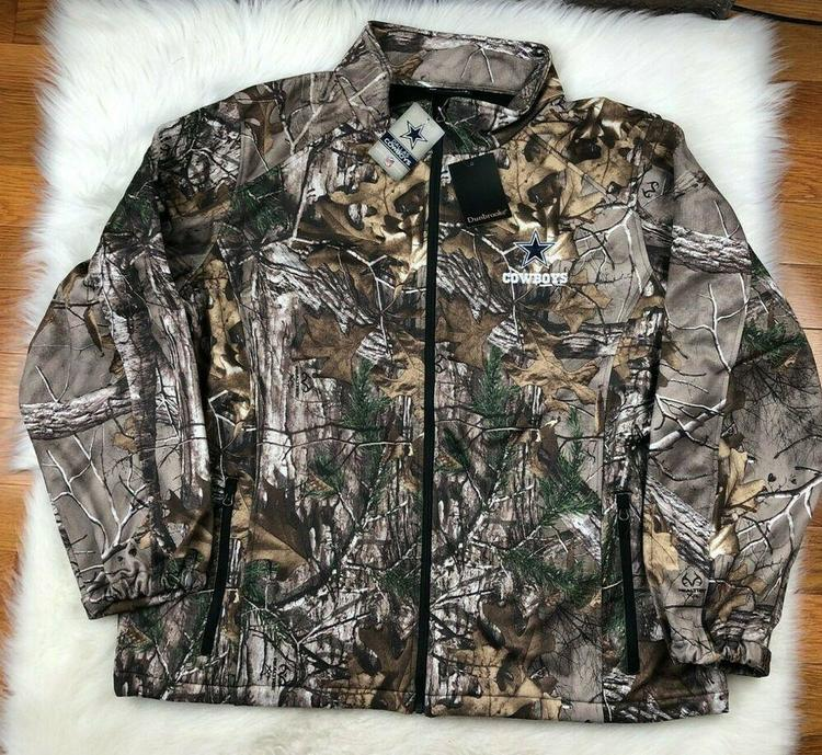 detailed look 6a52d 500f3 NFL Dallas Cowboys Soft Shell Full Zip Camo Realtree Track Jacket Men's 4XL