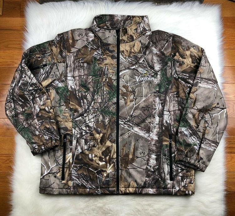 low priced 02444 ba330 NFL Minnesota Vikings Soft Shell Full Zip Camo Realtree Track Jacket Men 3XL