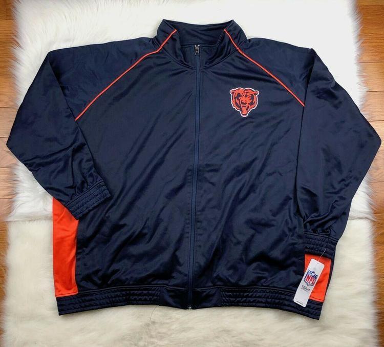 info for 56be7 f99ea NFL Women's Chicago Bears Plus Size 4X Poly Tricot Zip Track Jacket Navy