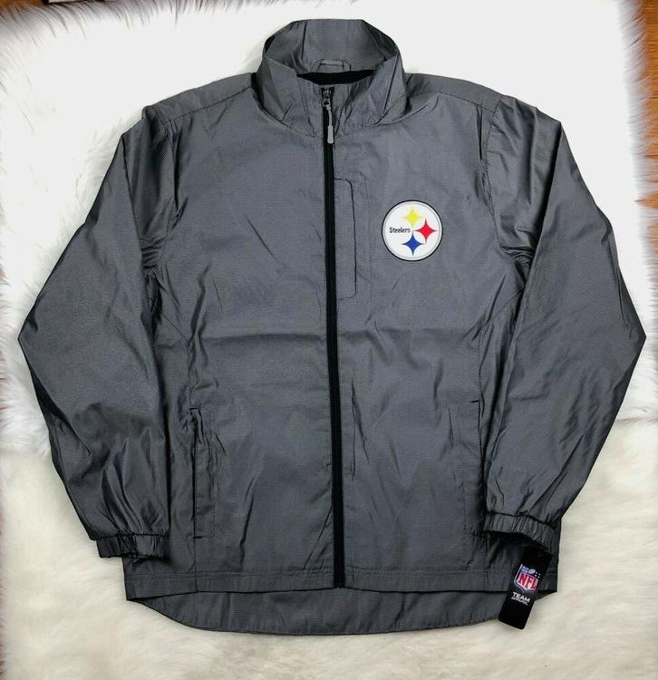 new products 53021 260e0 NFL Pittsburgh Steelers Men's Full Zip Lightweight Jacket Size L, Gray G-III