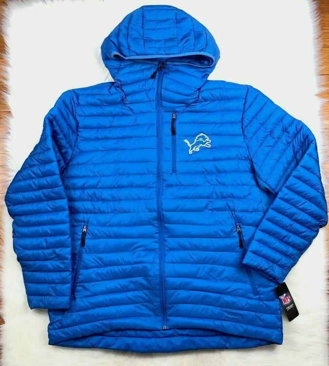 new concept 9d04d 20975 Detroit Lions NFL Full Zip Hooded Winter Puffer Jacket Blue, G-III, Men's  2XL