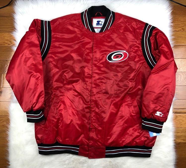 sports shoes 00e5c 10f37 Carolina Hurricanes Starter Satin Snap Up Jacket Throwback Red Men's 4XL NHL