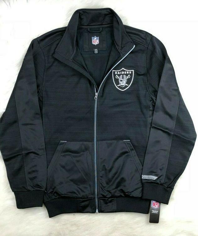 sports shoes e4b97 db10a NFL Oakland Raiders G-III Full Zip Track Jacket, Black, NWT Men's S - M