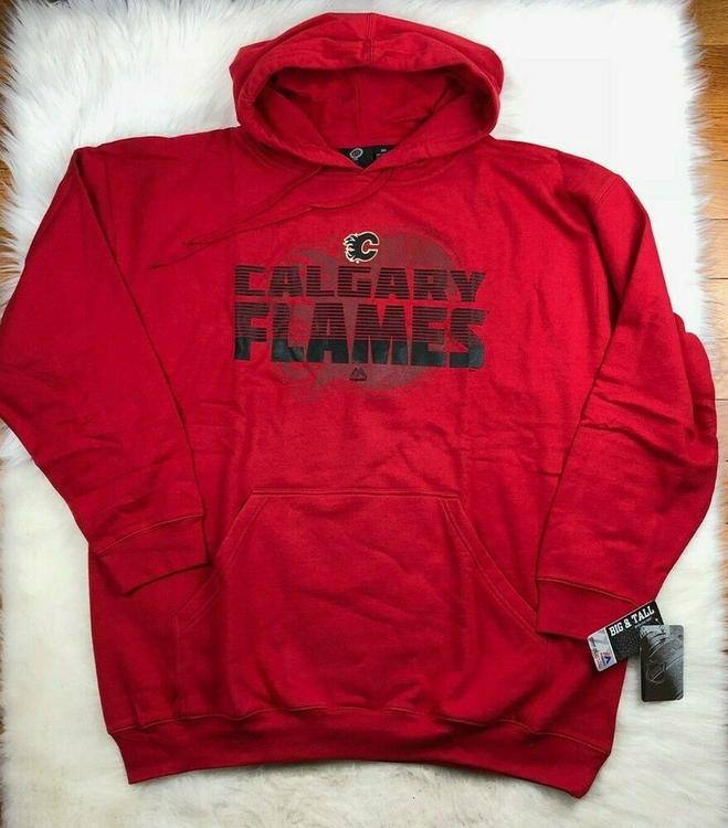 best service c0ba0 ab1a2 Calgary Flames $55 NHL Majestic Big & Tall Pullover Hoodie Red Men's 3XL