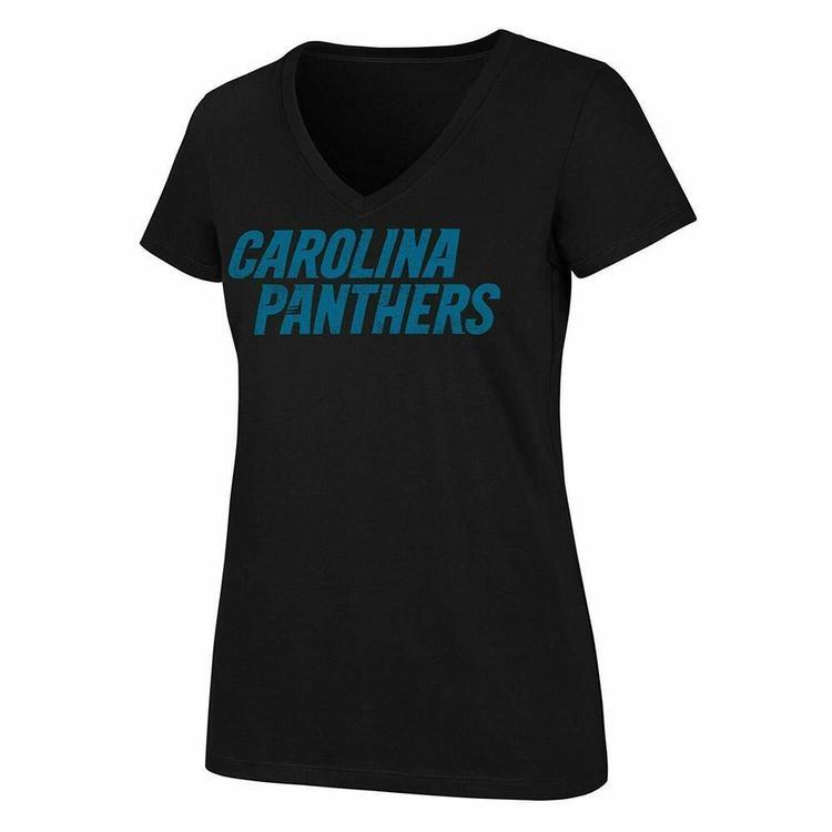aef7c6ef NFL Carolina Panthers Short Sleeve OTS V Neck T Shirt, Black, Women's XL