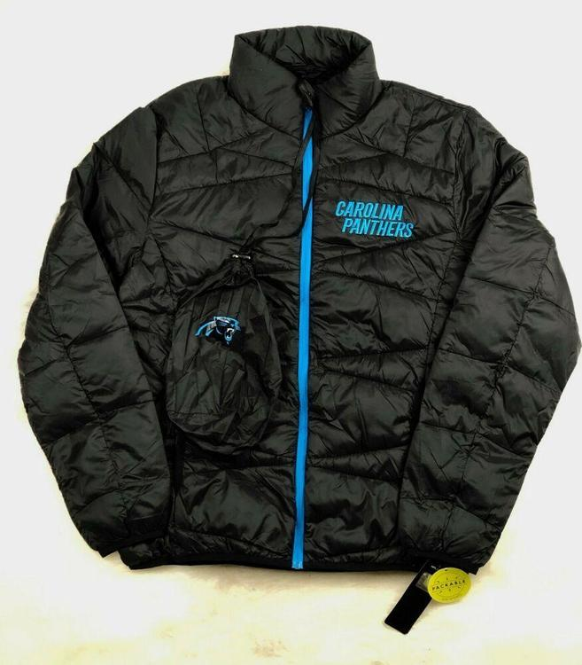 reputable site 32de0 05dbc Carolina Panthers Jacket Packable Puffer Coat w Bag, Black, NFL Men's Large