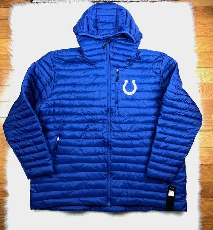 wholesale dealer 7c471 1975e NFL Indianapolis Colts Big & Tall Full Zip Hooded Puffer Jacket Blue,  G-III, 4XL