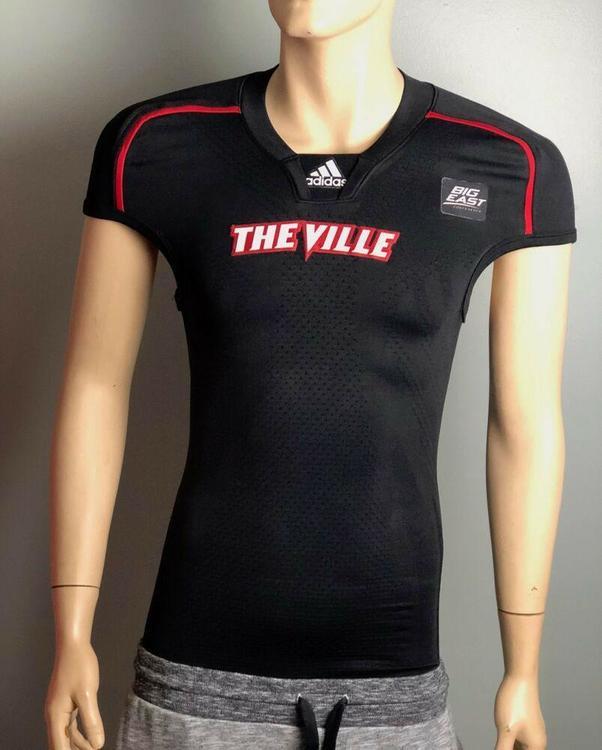 big sale 757f0 555ca Louisville Cardinals Football Jersey Adidas Techfit, Black, Men's M NCAA