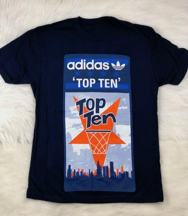 adidas Trefoil Blue Graphic Tee T Shirt Mens Size Large for