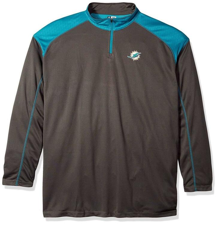 buy popular 006a4 8e5ec $60 Miami Dolphins NFL Pullover 1/4 Zip Layering Poly Jersey Big & Tall 2XLT