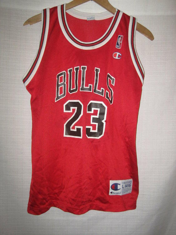 new arrivals 1abe4 7ebf0 Chicago Bulls Michael Jordan Basketball Jersey boys L 14/16 red Champion