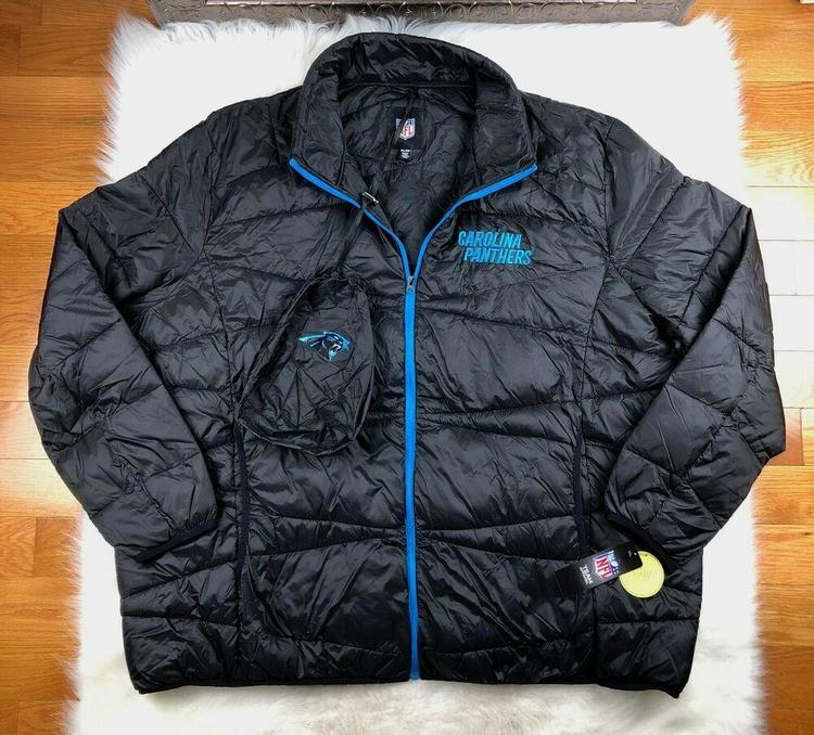 on sale dbe4e 7f919 Carolina Panthers Jacket Packable Puffer Coat w Bag, Black, NFL Big Man  Mens 6XL