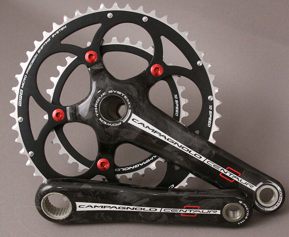 New Campagnolo Centaur Carbon Power-Torque 10 Speed 34//50 Crank Set 165