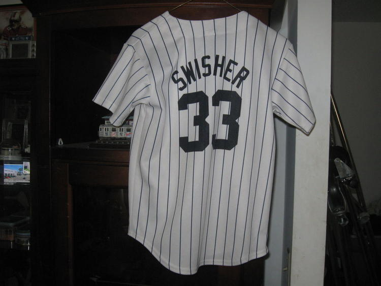 quality design d7188 a8bb5 NY YANKEES NICK SWISHER AUTHENTIC YOUTH HOME JERSEY(M) EMBRIODED!